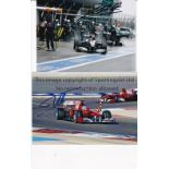 MICHAEL SCHUMACHER / FERNANDO ALONSO / AUTOGRAPHS Two signed colour photos: Schumacher in the