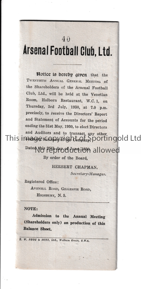 ARSENAL Report of Directors and Statement of Accounts 3/7/1930 when Arsenal won their first major
