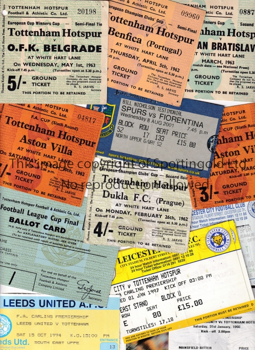 TOTTENHAM HOTSPUR TICKETS Seventy home and away from 1962 to early 2000's. including Bill