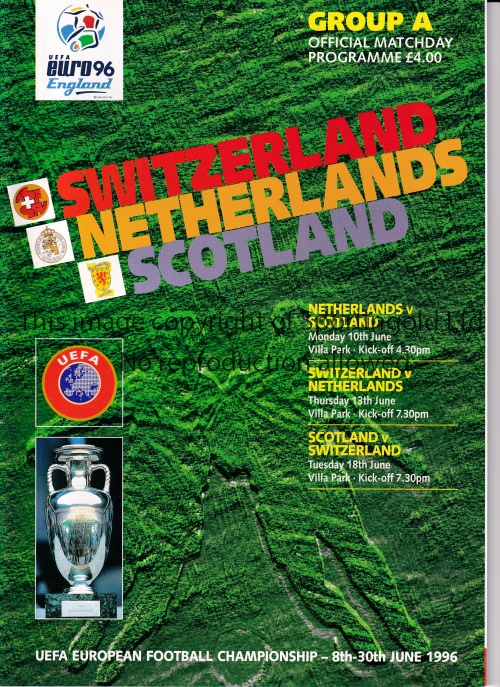 EURO 1996 Ten of the 11 programmes issued for the Tournament, missing England v Switzerland. Very