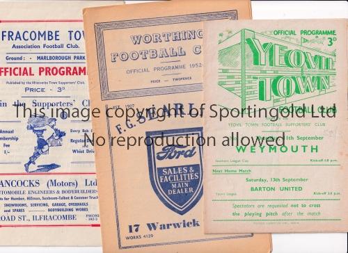 NON-LEAGUE FOOTBALL PROGRAMMES 1952/3 Nine programmes: Yeovil Town v Weymouth, Worthing v Erith &