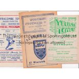 NON-LEAGUE FOOTBALL PROGRAMMES 1952/3 Nine programmes: Yeovil Town v Weymouth, Worthing v Erith &