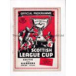 1957 SCOTTISH LEAGUE CUP FINAL / RECORD BRITISH SCORE Programme for Celtic v Rangers 19/10/1957