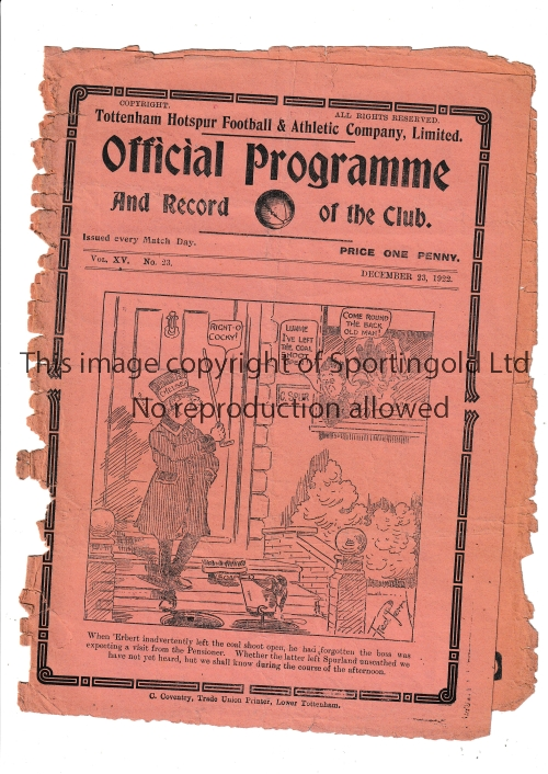 TOTTENHAM Home programme v Chelsea 23/12/1922. Very frayed at spine although intact . No writing.