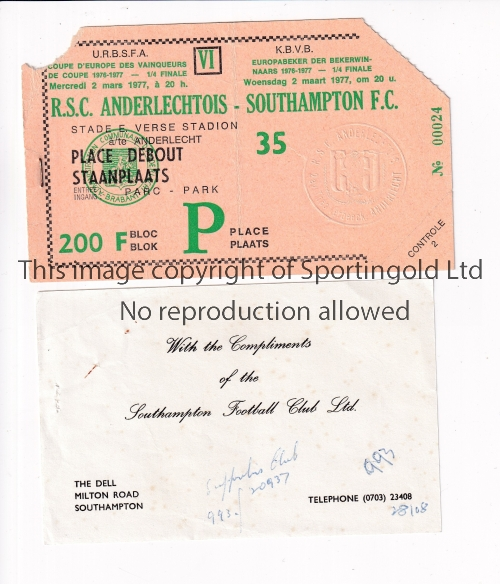 SOUTHAMPTON Ticket for the away ECWC tie v. Anderlecht 2/3/1977 with a very small piece removed on