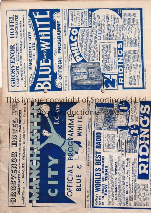 MANCHESTER CITY Two substandard home programmes v Charlton Athletic 10/10/1936 (Punch holes /