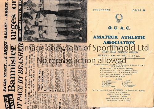 FIRST SUB-4 MINUTE MILE / ROGER BANNISTER Programme for the event that made history at Iffley Road