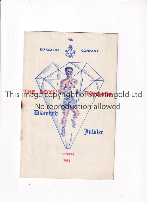 RANGERS / HEARTS / DUNDEE Programme The Boys Brigade Diamond Jubilee which took place in June