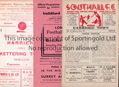 NON-LEAGUE FOOTBALL PROGRAMMES 1950/1 Eleven programmes: Southall v Uxbridge Town, At Guildford: