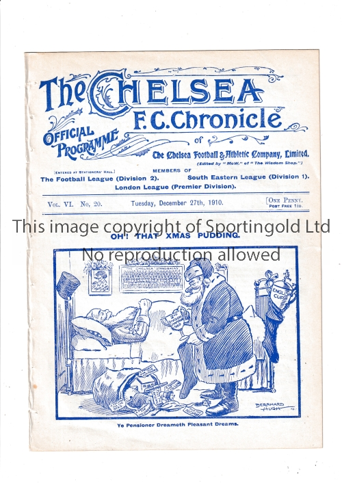 CHELSEA Home programme v Stockport County 27/12/1910. Ex Bound Volume. No writing. Good