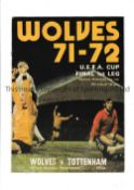 TOTTENHAM HOTSPUR AUTOGRAPHS 1972 Programme for the 1st Leg of the UEFA Cup Final away v. Wolves 3/