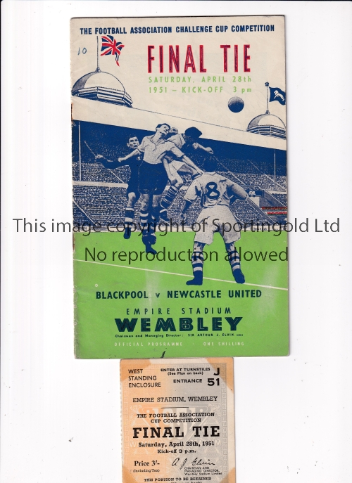 1951 FA CUP FINAL Programme and ticket for Newcastle United v Blackpool. Programme is very