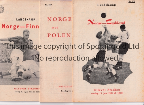 NORWAY Six home programmes: Germany 13/6/1956, Poland 30/5/1956, Finland 26/8/1956 and 15/7/1958,