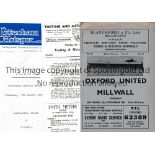 MILLWALL Four away programmes for Friendlies v Walthamstow Ave. 72/3, Tooting & Mitcham 65/6, Oxford