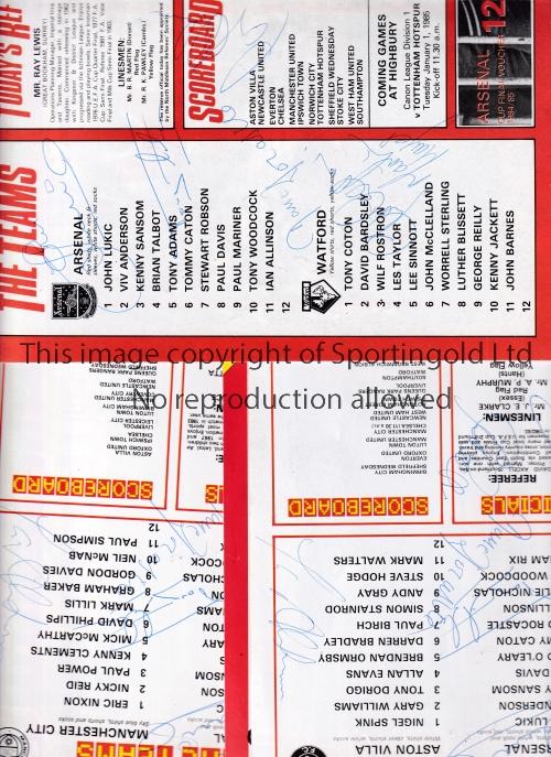 ARSENAL AUTOGRAPHS 1980'S Three signed home programmes v Watford 22/12/1984, Aston Villa 9/10/1985