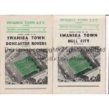 SWANSEA TOWN Two home programmes in season 1955/6 v. Hull City and Doncaster Rovers. Generally good