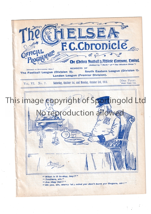 CHELSEA / BOLTON / TOTTENHAM Programme Chelsea v Bolton Wanderers 3/10/1910. Also covers the match