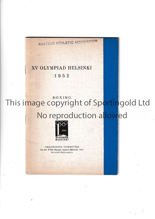 1952 OLYMPICS HELSINKI Official Organising Committee brochure for Boxing. Good