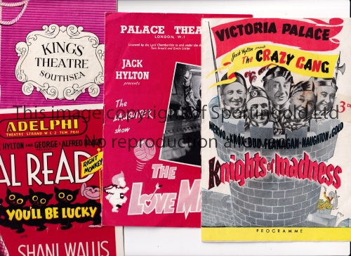 THEATRE PROGRAMMES Over 100 programmes from the 1950's and 1960's with artists including The Crazy