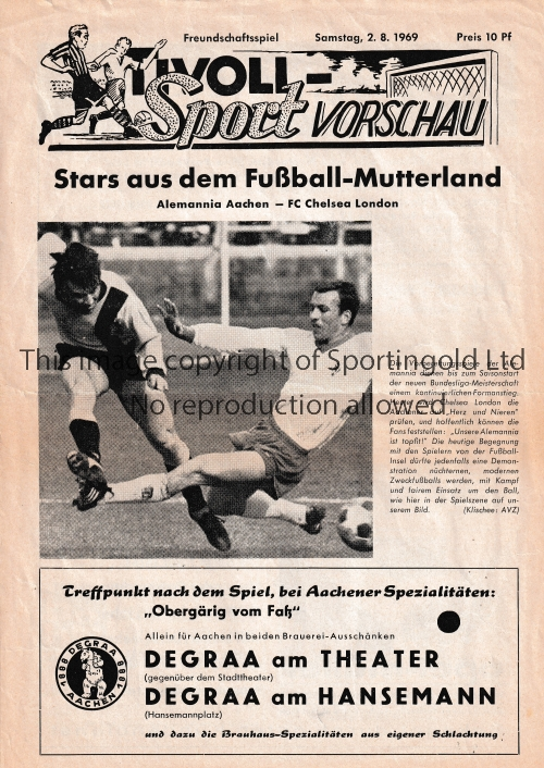 CHELSEA Programme from Chelsea's summer tour of Germany v Alemania Aachen 2/8/1969. Friendly