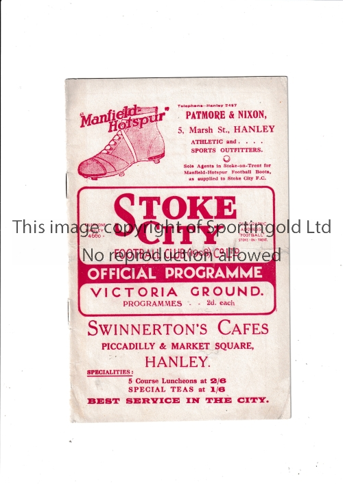 STOKE CITY Home programme v Chelsea FA Cup 5th Round 17/2/1934. Some restoration to front and