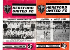 HEREFORD UNITED Two home programmes in their giant-killing FA Cup season 1971/2 v. Northampton and
