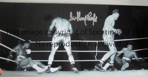HENRY COOPER Autographed 18 x 8 B/W photo showing Cooper´s famous knockdown of Cassius Clay at