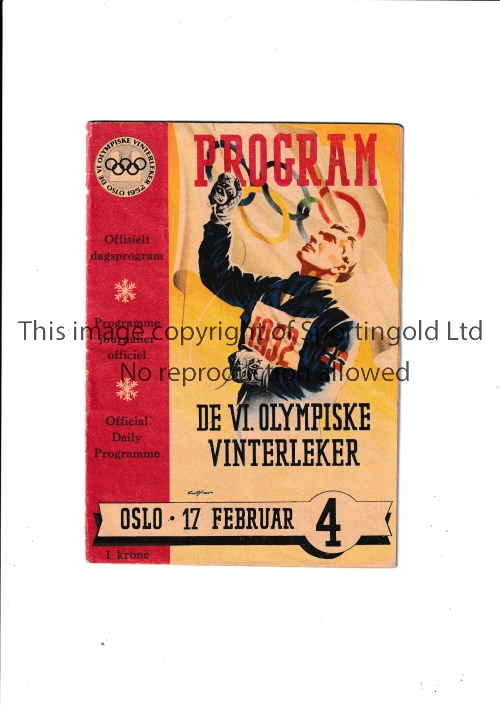 1952 WINTER OLYMPICS OSLO Official daily programme for 17/2/1952 in Oslo with results entered.