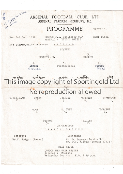 ARSENAL Single sheet home programme for the London FA Challenge Cup Semi-Final v Leyton Orient 2/