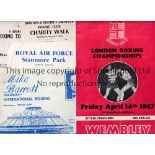 BOXING PROGRAMMES Approximately 40 programmes 1967 - 1992 plus a Lloyd Honeghan flyer. Boxers