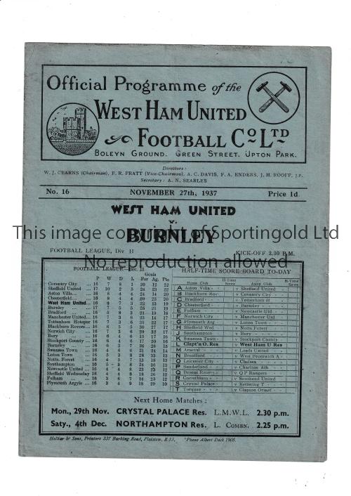 WEST HAM Home programme v Burnley 27/11/1937. No writing. Generally good