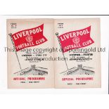 LIVERPOOL RESERVES Two home programmes v. Everton 58/9 and Stoke 59/60. Generally good