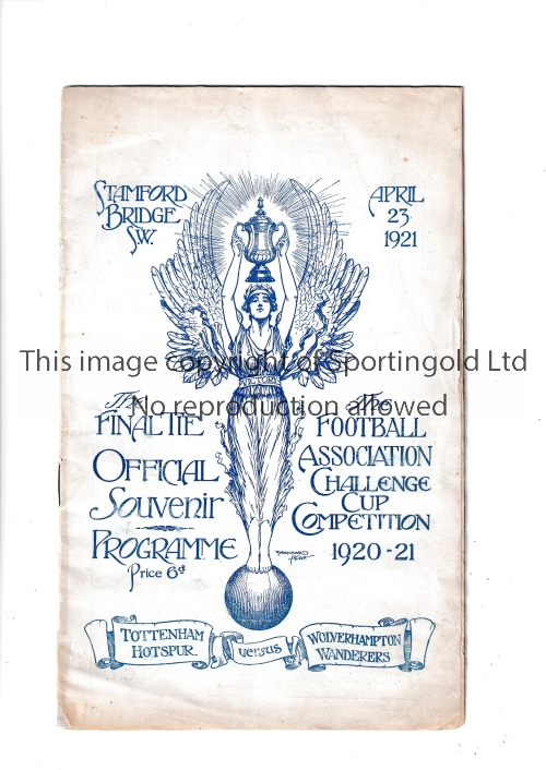 1921 CUP FINAL Official programme for the 1921 Cup Final at Stamford Bridge, Tottenham v