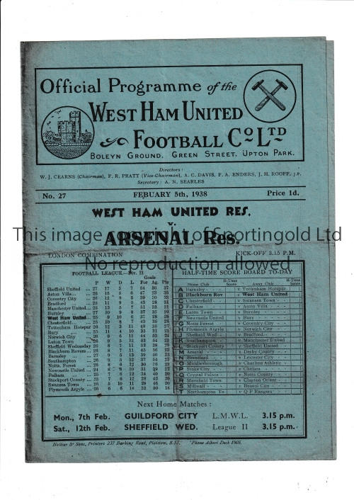ARSENAL Programme for the away London Combination match v West Ham United 5/2/1938, slightly