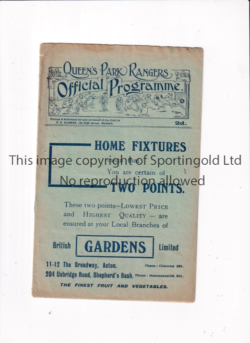 QUEENS PARK RANGERS V READING 1924 Programme for the 6/2/1924. The centre pages missing with the