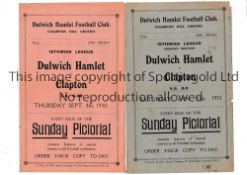 DULWICH HAMLET Two home programmes v. Clapton 4/9/1930 and 31/1/1931, minor wear and minor tears.