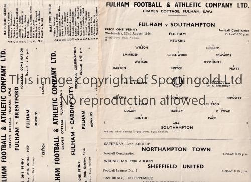 FULHAM RESERVES Three single sheet home programmes v. Southampton 56/7, Cardiff 56/7 and Brentford