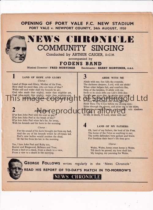 PORT VALE Three News Chronicle Song Sheets for the opening of the new Port Vale stadium v Newport