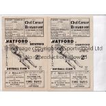 WATFORD Two home Reserve team programmes v. Brentford 48/9 and 49/50 both with punched holes. Fair