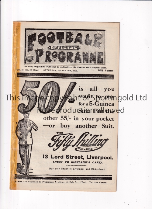 LIVERPOOL V HUDDERSFIELD TOWN / EVERTON RES. V SHEFF. WEDS. RES. 1926 Joint issue programme 20/3/