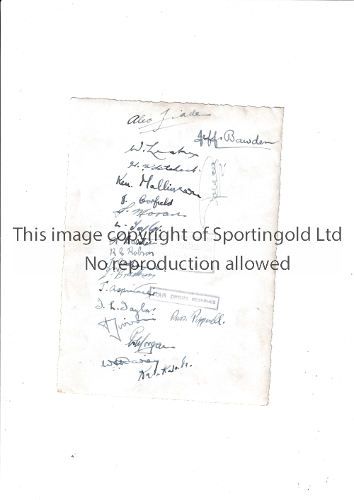 """HUDDERSFIELD RUGBY LEAGUE AUTOGRAPHS 1946 A 7"""" X 8"""" B/W French Press photo with stamps on the"""