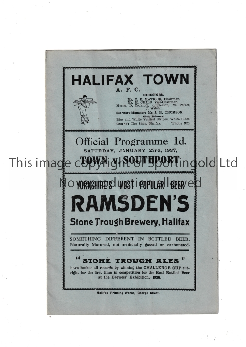 HALIFAX Home programme v Southport 23/1/1937. Lacks staples. No writing. Fair to generally good