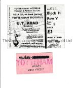 TOTTENHAM HOTSPUR Tickets for home away matches v. U.T. Arad of Romania in the UEFA Cup 1971/2.