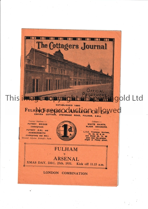 ARSENAL Away programme v Fulham for the London Combination match 25/12/1931, scores entered.