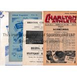 PROGRAMMES FOR FOOTBALL FRIENDLIES Four programmes: Charlton Ath. V Norkopping 46/7 small paper loss