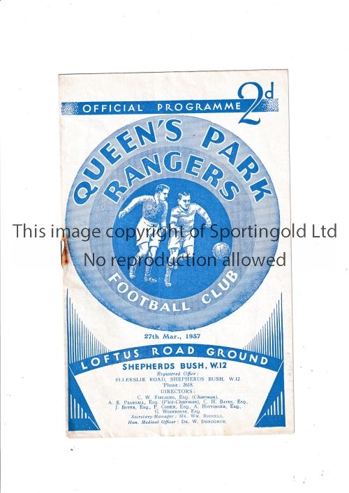 QPR Programme Queen's Park Rangers v Watford 27/3/1937. Staple rust. No writing. Fair to generally