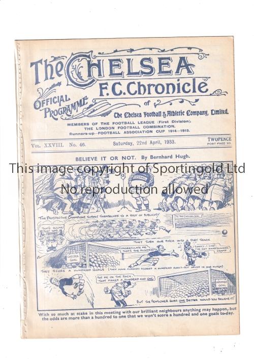 CHELSEA Home programme v Arsenal 22/4/1933. Arsenal's 2nd Championship winning season. Ex Bound