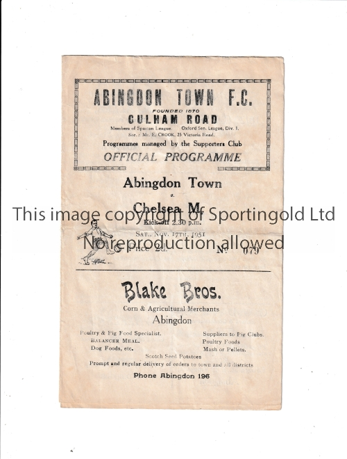 ABINGDON TOWN V CHELSEA MARINERS 1951 Programme for the match at Abingdon 17/11/1951 possibly a