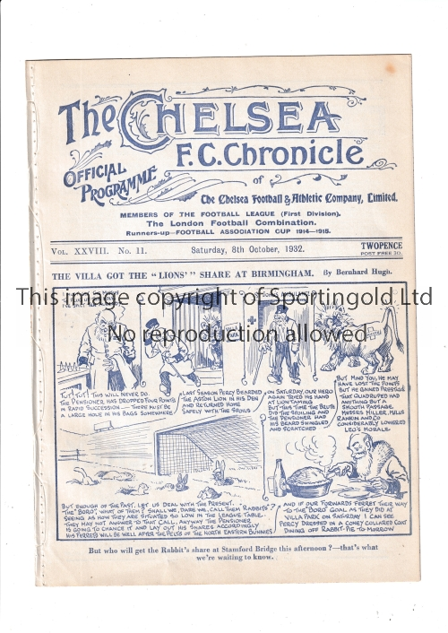 CHELSEA Home programme v Middlesbrough 8/10/1932. Ex Bound Volume. Small stain at top right front