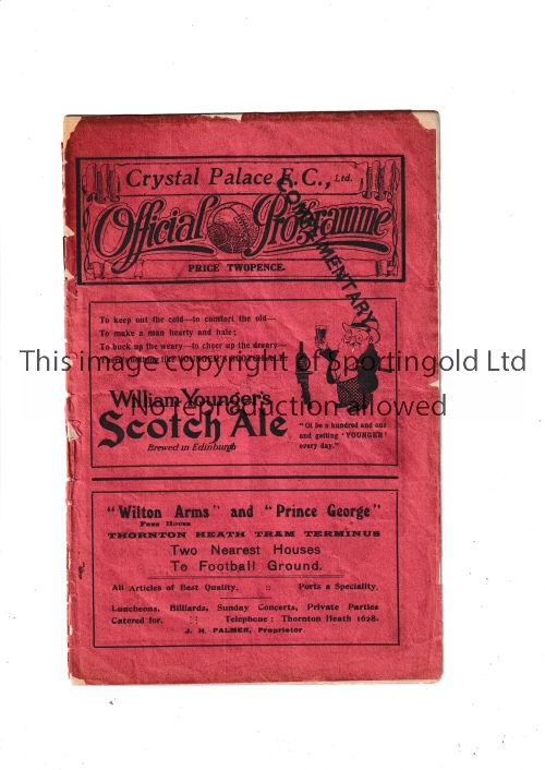 ARSENAL Programme for the away London Combination match v Crystal Palace 18/9/1926. Page 15/16